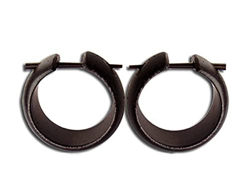 CHICNET Alfiler de madera Creoles hecho a mano redondeado marrón oscuro alfiler de cuerno pequeños pendientes 20mm | cool orgánico unisex pendientes de madera hombres mujeres joyería del oído tribal
