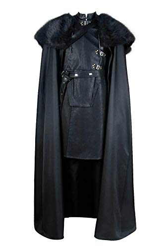 MCOS Game of Thrones Cosplay Jon Snow Costume Black Cloak Vest Robe Outfit L