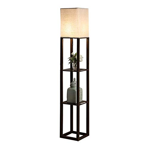 Shelf Floor Lamp with USB Charging Port - Tall & Narrow Tower Nightstand for Living Room & Bedroom - Modern, Asian End Table -Brown(no Bulb)