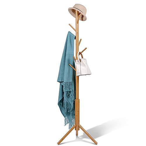 BMOSU Coat Rack Stand Bamboo Wooden 8 Hooks 3 Adjustable Tree Standing Coat Jackets Hanger Easy Assembly Hallway Mounted Corner Parlor Office Floor Stand for Clothes Nature