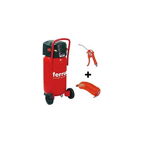 Ferrua Compresor de aire vertical 50 L sin aceite 2CV 10 bar + accesorios