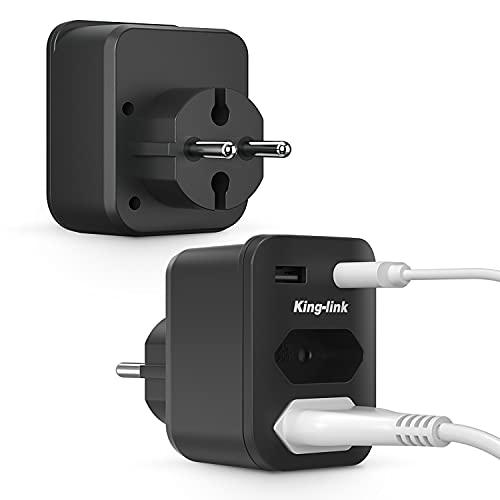 Kinglink Enchufe, Enchufe Multiple 4 en 1, Enchufe USB Multiple con 2 Tomas (Tipo C), 2 USB (Tipo A), 4000W Enchufes Pared (250V/16A), Enchufes USB Adaptador para Móvil y Tableta [2 Packs]