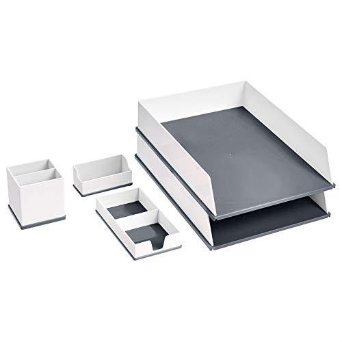 Amazon Basics Desk Organization Set – Grey and White