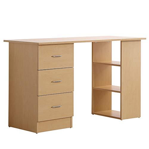 HOMCOM Schreibtisch Computertisch Bürotisch Arbeitstisch Regal mit Schubladen Natur L120 x T49 x H72 cm
