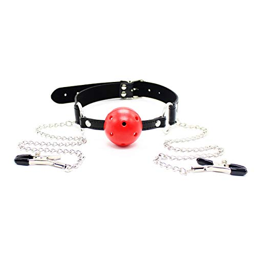 Erotiek Products ijzeren ketting Mouth Gamma Productie Mouth Plug Tepelklemmetje Entertainment Chain Clip ZHQHYQHHX (Size : Red)