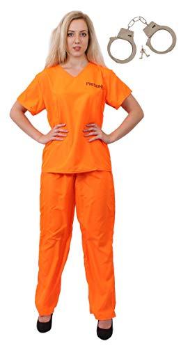 I LOVE FANCY DRESS LTD Disfraz DE PRESO CONVICTO Naranja para Mujeres. Disfraces DE CONVICTO, PRESO, POLICÍAS Y Ladrones. Camiseta Y PANTALÓN Naranja + Esposas. Talla: Grande | EUR 42-44