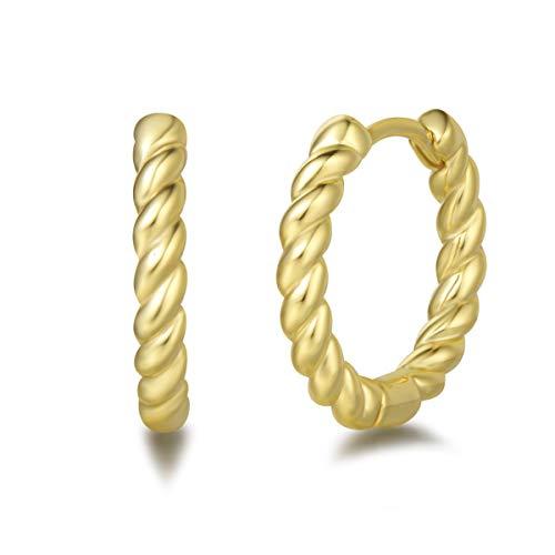 Orecchini a Cerchio Piccoli Twisted per Donna in Argento Sterling 925 Placcato Oro Giallo Gioielli per Donna Ragazze - Diametro: 18 mm