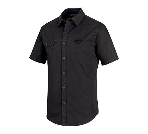 Harley-Davidson Men's Performance Vented Stretch Slim Fit Shirt, Black (Xx-Large)