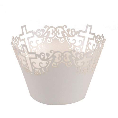 HEALLILY 50 Piezas de Envoltorios de Cupcake Filigrana Artística de Papel de Pastel Filigrana Pequeña Vid de Encaje Cortado Revestimiento de La Taza para Hornear Envolturas de Magdalenas