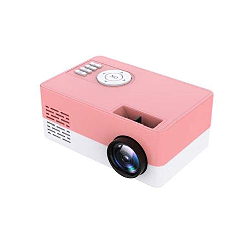 LED Mini Projector, 1080P HD High Lumen Portable Home Media Video Projector, Compatible with HDMI/USB/TF Card/ (Color : Pink)