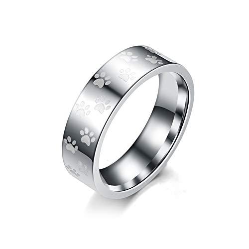 Daesar 1 Stuck Ring Ehering Edelstahl Verlobungsring mit Hundepfote Rund 6 MM Freundschaftsring Damen Herren Ringe Silber Gr.54 (17.2)