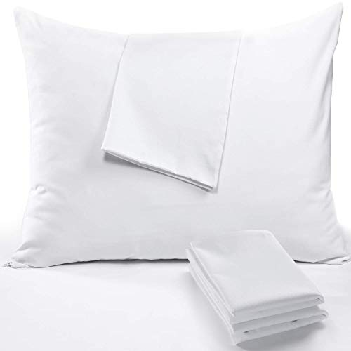 4Pack Cotton Pillow Protectors Standard Anti Allergy 20x26 450 Thread Count Style Life Time Replacement Premium Cotton Sateen Tight Weave Lab Tested Non Noisy Zippered Covers Breathable