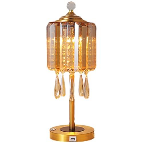 Lámpara de Mesa lámpara de Mesa de Cristal lámpara de Mesa Creativa con lámpara de Cama de Tacto Ligero de Tres Tonos Adecuado para Dormitorio y Sala de Estar
