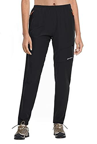 BenBoy Pantalones Montaña Trabajo Mujer Secado Rápido Pantalones Casuales Deportivos Pantalon de Trekking Escalada Senderismo Acampada Impermeable,KZ2016W-Black-M