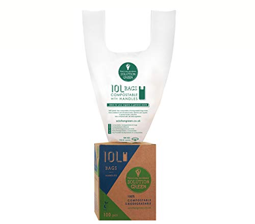 Solution Green 10L Bags with Handles Compostable Caddy Liners EN13432 Certified Biodegradable Food Waste Bags | Food Caddy Bin Liners | Biodegradable Bin Bags | Compostable Bin Liners 100pcs
