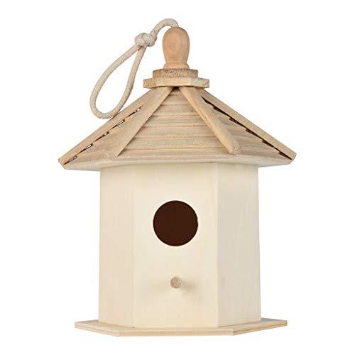 Serria Maison D'Oiseau en Bois - Nichoir pour oiseaux avec entrée en forme de Ronde - Créativité Mural Maison en Bois D'Oiseau Accrochant des Nichoirs De Nid D'Oiseau Nichoir La DéCoration