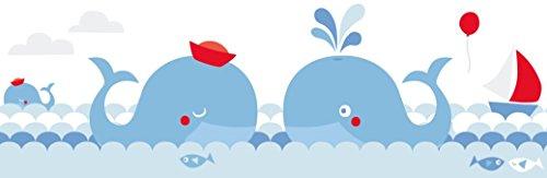 lovely label Bordüre selbstklebend WALE BLAU/ROT - Wandbordüre Kinderzimmer/Babyzimmer mit Walen im Meer in versch. Farben - Wandtattoo Schlafzimmer Mädchen & Junge – Wanddeko Baby/Kinder