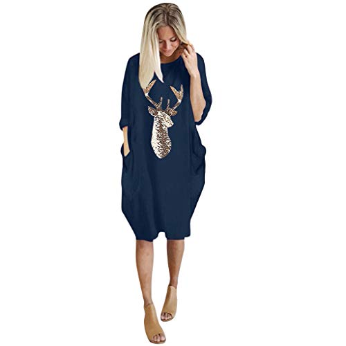 Great Deal! Amlaiworld Womens Plus Size Jumper Blouse Loose Tops Dress Ladies O Neck Long Pocket Chr...