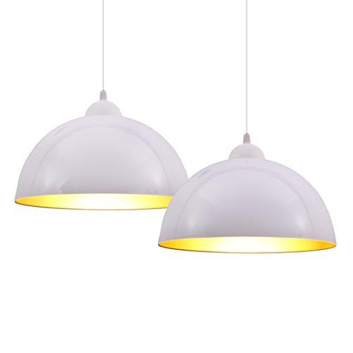 B.K.Licht lot de 2 suspensions vintage, 2 luminaires style industriel, plafonnier vintage lot de 2, éclairage intérieur, lampe cuisine salon salle à manger chambre, blanc, 230V, IP20, Ø 300mm