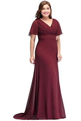 Misshow Damen Abendkleider Lang Übergrößen Plissee Mit Chiffon Elegant Für Hochzeit Prom Dress, Royalblau, 48