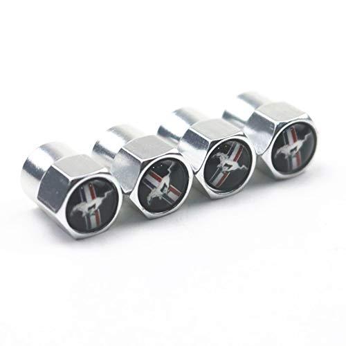 FISSIF 4 Unids Carrera de Caballos Logotipo Emblema Neumáticos del Coche Tapa de la válvula de la Rueda Cubierta Antipolvo para Ford Mustang Decoración de neumáticos Accesorios