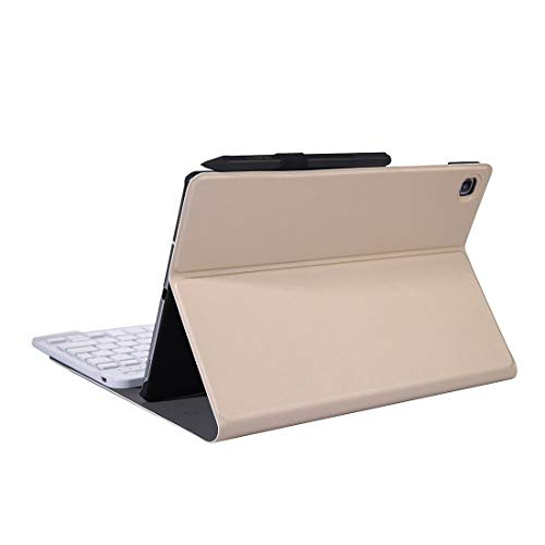 for Tablet Bluetooth Keyboard Gq A610 for Galaxy Tab S6 Lite 10.4 P610 / P615 (2020) Bluetooth Keyboard Protective Case with Stand & Elastic Pen Band (Color : Gold)