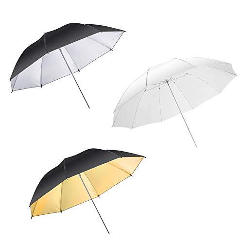 3 x 33 Zoll Professional Kit mit Regenschirm schießen durch den Diffusor / Reflective Portrait / Softbox Reflektor - Weiß / Silver / Gold Schwarz