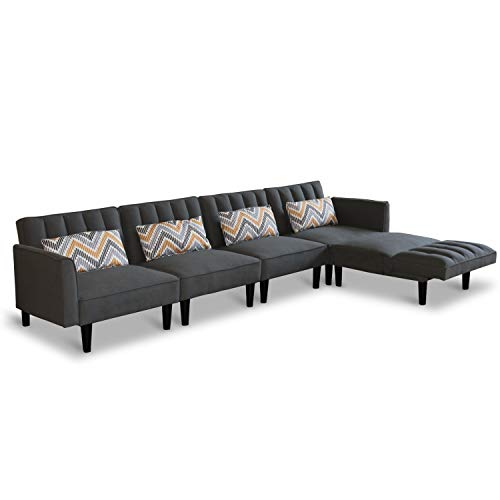 Modern Convertible Sectional Sofa Couch with Reversible Chaise Lounge L-Shaped Linen Fabric Sofa Sets with Adjustable Back Sofa Bed for Living Room Office (Five-Seater, Dark Grey)