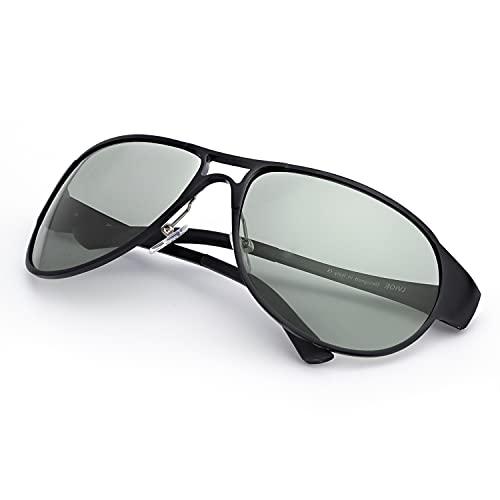 IGnaef Occhiali Da Sole Polarizzati Fotocromatici da Uomo Al-Mg Metallo Cornice Cardini a Molla per Guida All'aperto - Protezione 100% UVA/UVB (Nero)