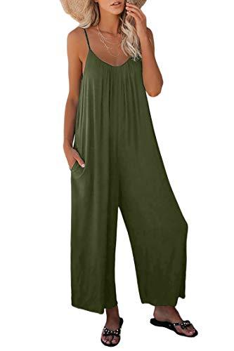 Ajpguot Verano Mujer Sexy Sling Monos Color Sólido Mamelucos Moda Largo Mono Casual Rompers Pantalones con Bolsillo