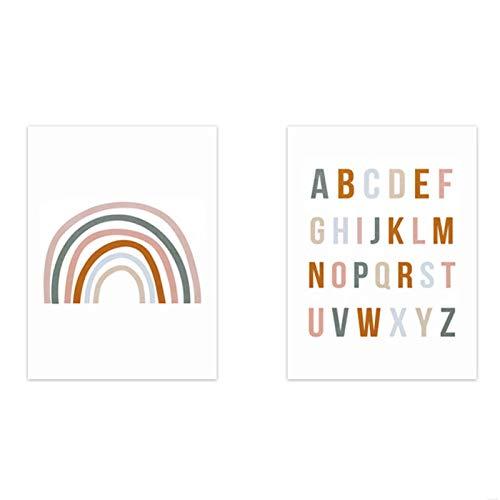 Arte de lienzo de moda, cartel de alfabeto nórdico arcoíris de guardería...