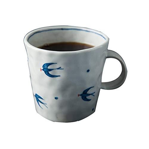 YIFEI2013-SHOP Tazas Oficina de té Taza de cerámica Hecha a Mano Creativa de la Taza del Agua Taza de café de la Tarde del Amante de la Copa Azul y Blanco Tazas de Café (Size : L)