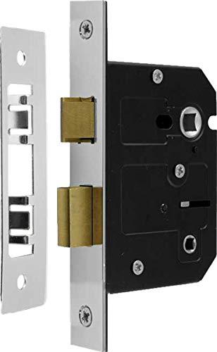 2½ Inch - 63mm Bathroom Mortice Sash Lock Polished Chrome - 44mm Backset