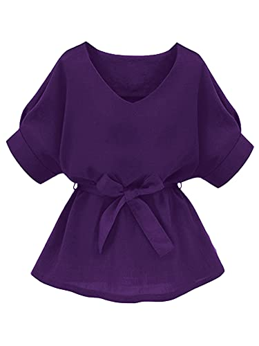 Milumia Women's Casual V Neckline Short Sleeve Self Tie Dressy Work Blouse Tunic Tops Dark Purple X-Large
