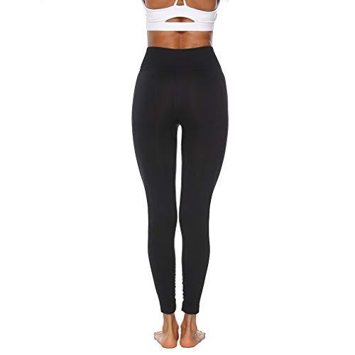 Naadloze yogabroek Europese en Amerikaanse legging Heupen Vochtafvoerende zweetbroek Fitness gebreide panty (L zwart)