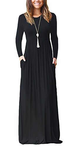 AUSELILY Women's Round Neck Casual Loose Maxi Long Dresses with Pockets (L, Black)