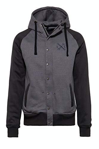 King Kerosin Herren Hoodie Jacket | Kapuzen Sweatjacke | College Jacke | Funktionsjacke Motor Service
