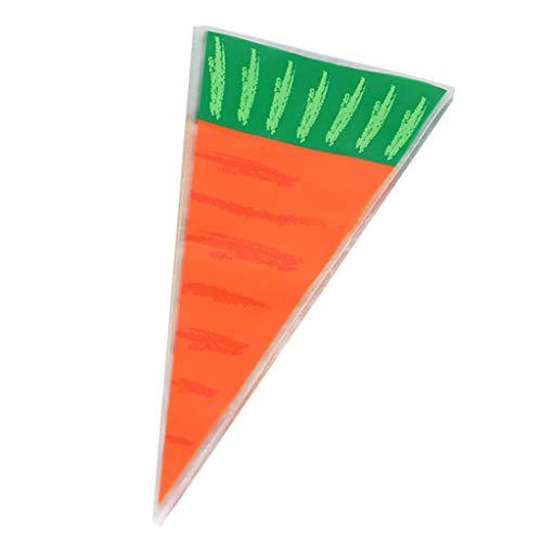S-TROUBLE 20 Piezas Conejos de Pascua Zanahoria Bolsa de Dulces Bolsa de Regalo Conos de Caramelo niños decoración de Fiesta de cumpleaños decoración Bolsa de plástico Transparente