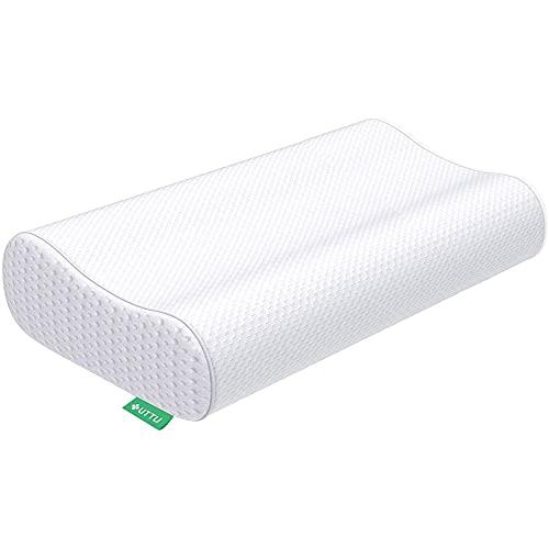 UTTU Sandwich Kissen, Höheneinstellbares Memory Foam Kopfkissen, Visco Nackenstützkissen, Schlafkissen mit Bambus Bezug