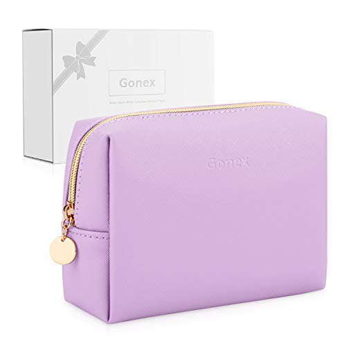 Gonex Small Makeup Bag for Purse PU Vegan Leather Travel Cosmetic Pouch Toiletry Bag for Women Girls Gifts Portable Water-Resistant Daily Storage Organzier Lavender