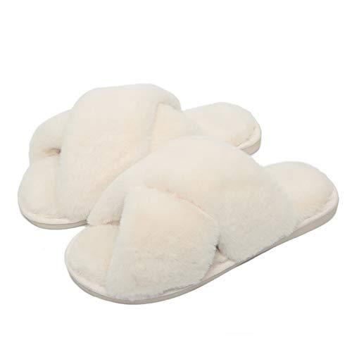 Drecage Hausschuhe Damen Plüsch Pantoffel Crossover Pantoffeln Kuschelig Flauschig Schlappen Flip Flop- rutschfest Warm und Angenehm 41/42 EU (Herstellergr.42/43)