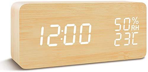 COOLEAD Reloj Despertador Digital, Reloj Digital Sobremesa con Temperatura Humedad 3 Grupos de Alarma, 3 Niveles de Brillo y Control de Sonido