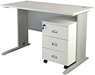 Mahmayi Stazion 1260 Modern Office Desk With Drawers (120Cm) (With Drawers, White)