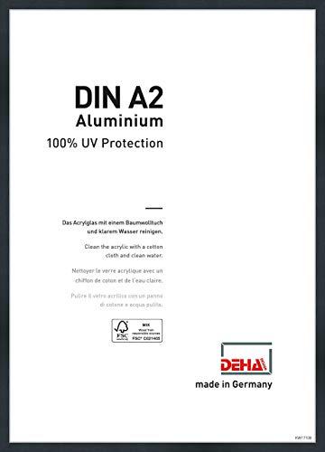 DEHA Aluminium Bilderrahmen Tribeca, 42x59,4 cm (A2), Struktur Schwarz Matt