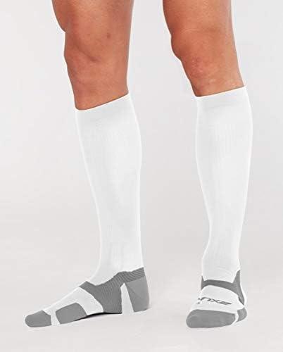 2XU Unisex Vectr Cushion Full Length Sock White/Grey M1