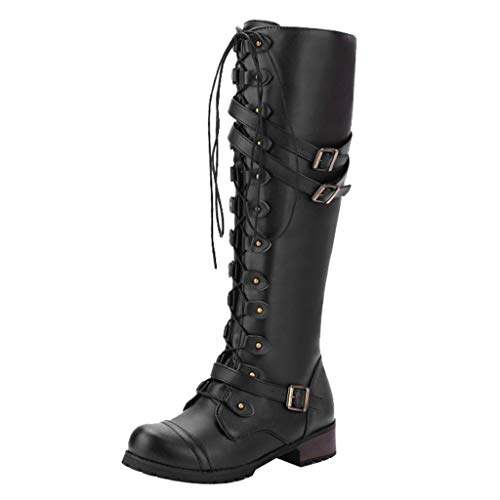 Best Buy! Women's Fashion Knee High Riding Boots Steampunk Gothic Vintage Style Retro Punk Lace Up B...