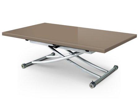 Table Basse relevable à Plateau & allonge dépliable Clever XL - Laqué Taupe Brillant