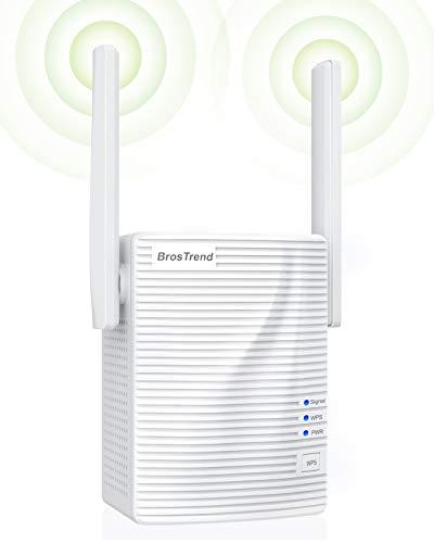 BrosTrend Ripetitore WiFi Wireless AC1200, Estensione Copertura WiFi Dual Band 5GHz e 2,4GHz, 867Mbps + 300Mbps, Access Point, 1 Porta LAN, Compatibile con Tutti i Modem Router Inclusi Fibra e ADSL