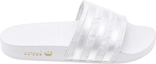 adidas Damen Adilette Slide Sandal, Weiß (Footwear White/Footwear White/Gold Metallic), 39 1/3 EU