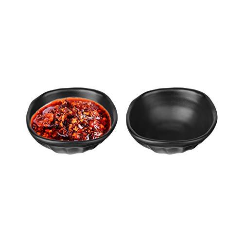 Cabilock - 2 ciotole in melamina, per salse, salse, snack, per salsa di soia, antipasti, Natale, decorazione da tavolo, 11,5 x 5 cm, colore nero